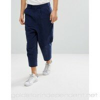 ASOS Drop Crotch Tapered Smart Pants In Navy Textured Linen Blend Navy 1061442  - MOJHE0ET4